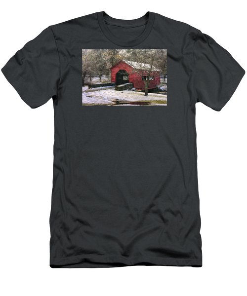 Winter Crossing In Elegance - Carroll Creek Covered Bridge - Baker Park Frederick Maryland Men's T-Shirt (Slim Fit) by Michael Mazaika