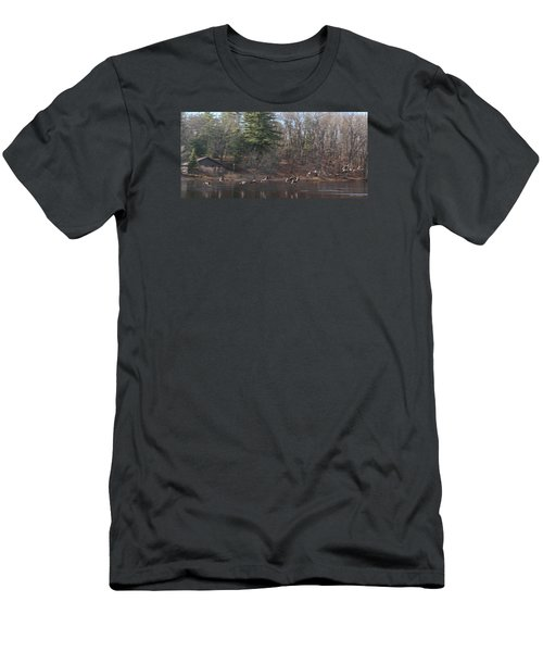 Men's T-Shirt (Slim Fit) featuring the photograph Winter Flight by Debra     Vatalaro