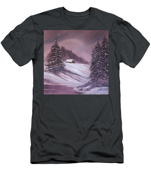 Men's T-Shirt (Slim Fit) featuring the painting Winter Moon by Janice Rae Pariza