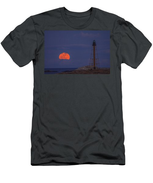 Winter Moon Rising Over Marblehead Light Men's T-Shirt (Athletic Fit)