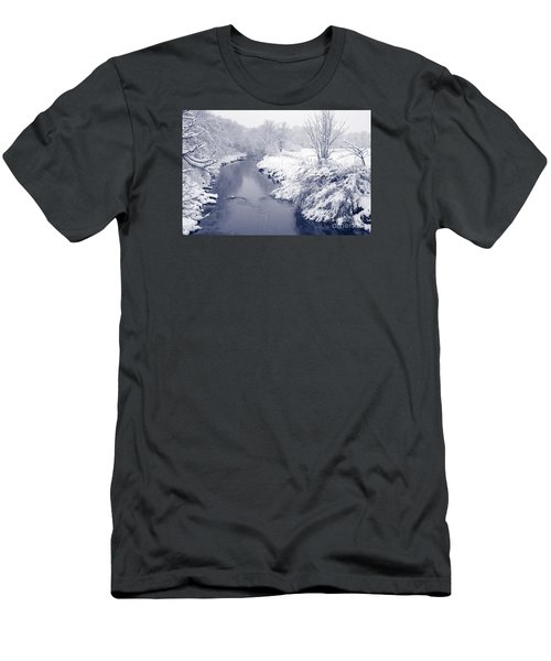 Men's T-Shirt (Slim Fit) featuring the photograph Winter River by Liz Leyden