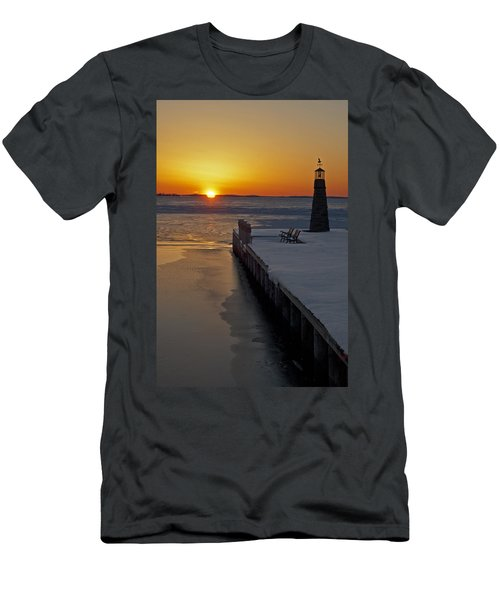 Men's T-Shirt (Slim Fit) featuring the photograph Winter Sunset On Lake Winneconne by Judy  Johnson