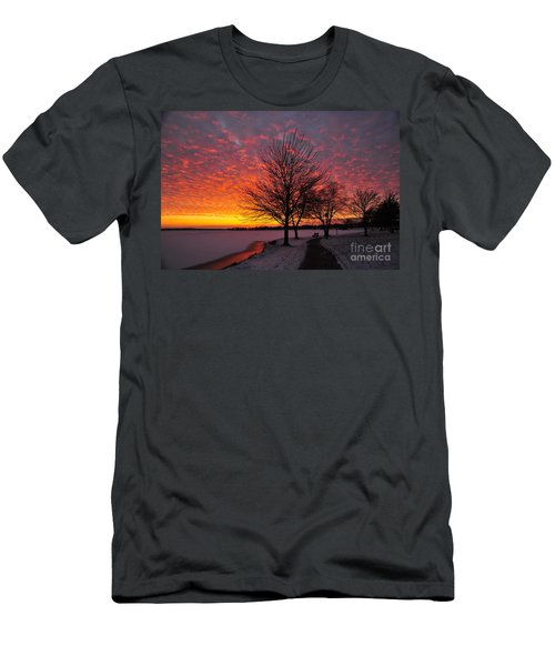 Men's T-Shirt (Slim Fit) featuring the photograph Winter Sunset by Terri Gostola