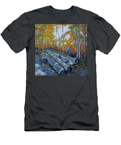 Men's T-Shirt (Slim Fit) featuring the painting Winter's Firewood by Marilyn  McNish