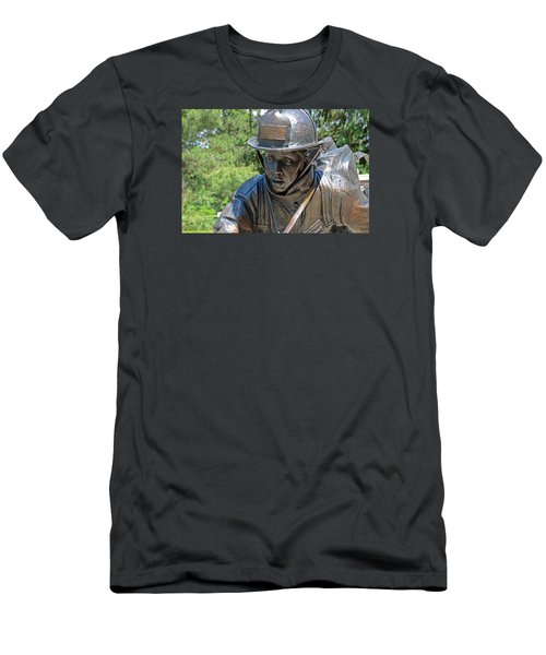 Men's T-Shirt (Slim Fit) featuring the photograph Wisconsin State Firefighters Memorial 3  by Susan  McMenamin