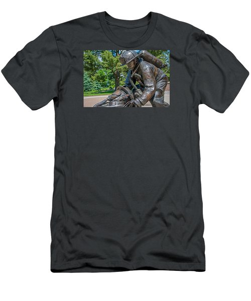 Men's T-Shirt (Slim Fit) featuring the photograph Wisconsin State Firefighters Memorial 4 by Susan  McMenamin