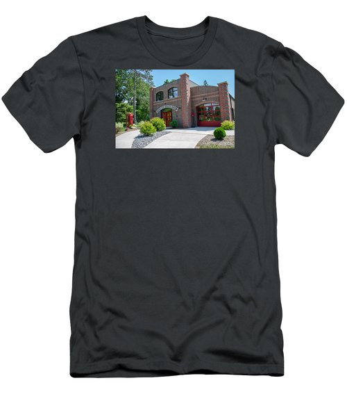 Men's T-Shirt (Slim Fit) featuring the photograph Wisconsin State Firefighters Memorial 6 by Susan  McMenamin