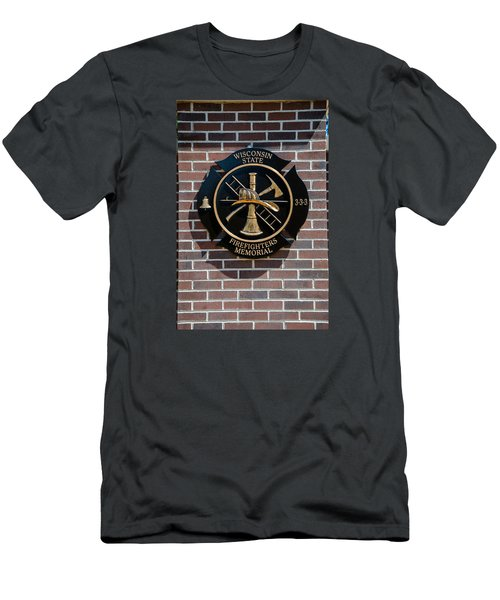 Men's T-Shirt (Slim Fit) featuring the photograph Wisconsin State Firefighters Memorial Park 5 by Susan  McMenamin