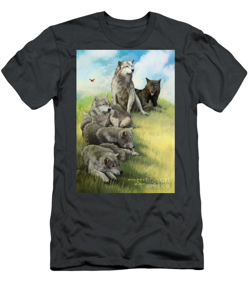 Wolf Gathering Lazy Men's T-Shirt (Athletic Fit)