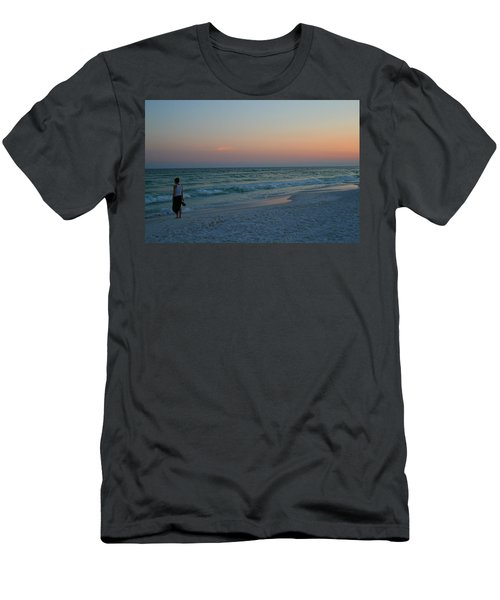 Woman On Beach At Dusk Men's T-Shirt (Athletic Fit)