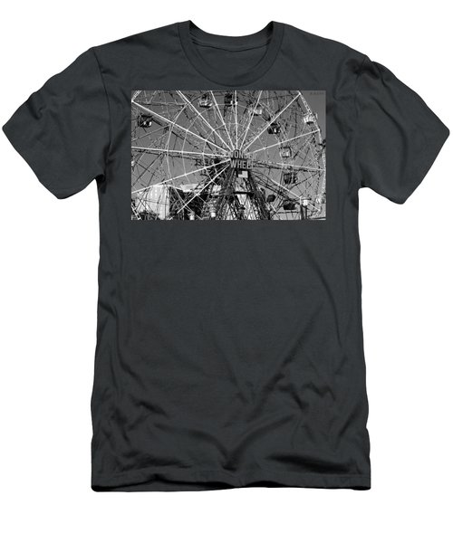 Wonder Wheel Of Coney Island In Black And White Men's T-Shirt (Athletic Fit)