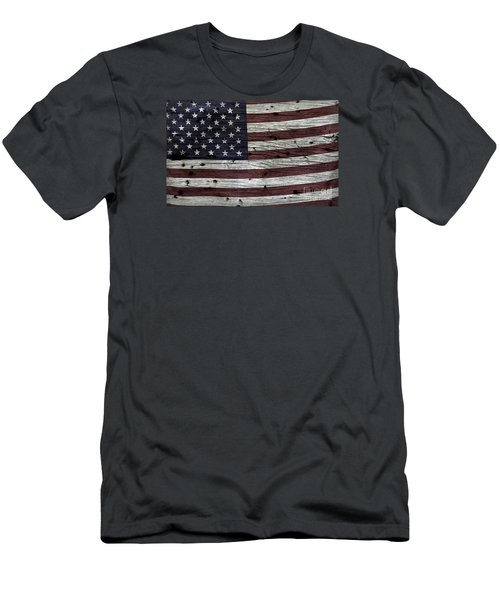 Wooden Textured Usa Flag3 Men's T-Shirt (Slim Fit) by John Stephens
