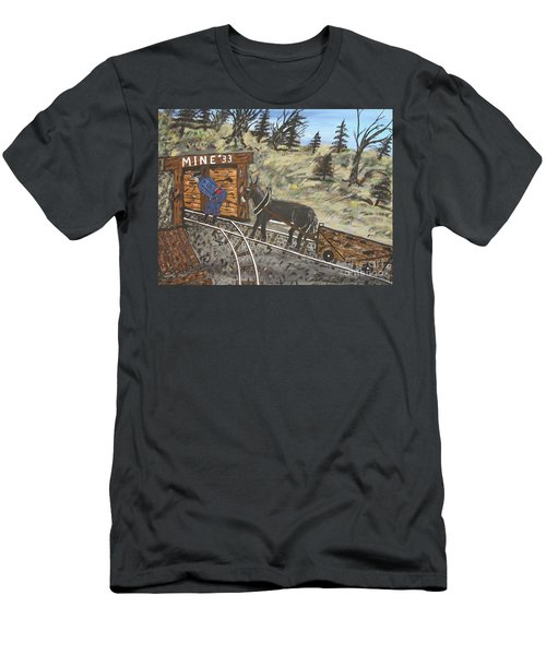 Men's T-Shirt (Slim Fit) featuring the painting  The Coal Mine by Jeffrey Koss