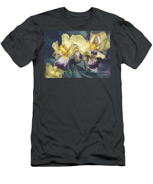 Watercolor Of A Tall Bearded Iris Painted In Yellow With Purple Veins Men's T-Shirt (Athletic Fit)