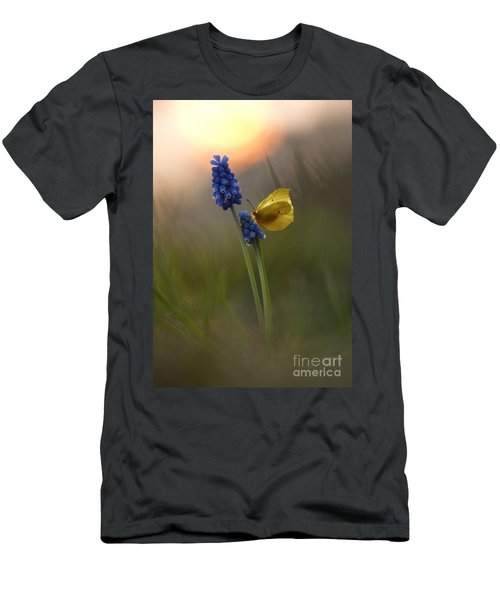 Men's T-Shirt (Athletic Fit) featuring the photograph Yellow Butterfly On Grape Hyacinths by Jaroslaw Blaminsky