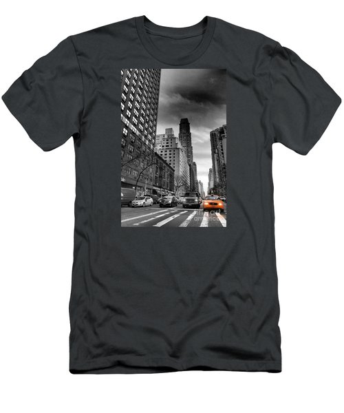 Yellow Cab One - New York City Street Scene Men's T-Shirt (Athletic Fit)