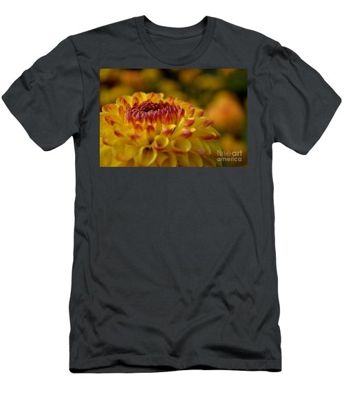 Yellow Dahlia Red Tips Men's T-Shirt (Athletic Fit)