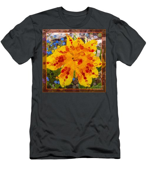 Yellow Lily With Streaks Of Red Abstract Painting Flower Art Men's T-Shirt (Athletic Fit)