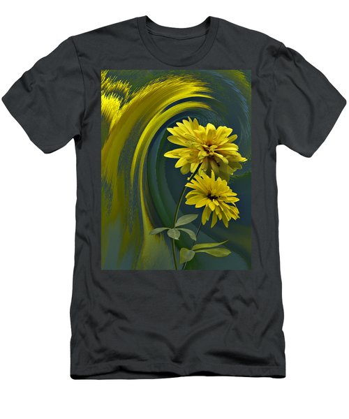 Men's T-Shirt (Slim Fit) featuring the digital art Yellow Mum Fantasy by Judy  Johnson