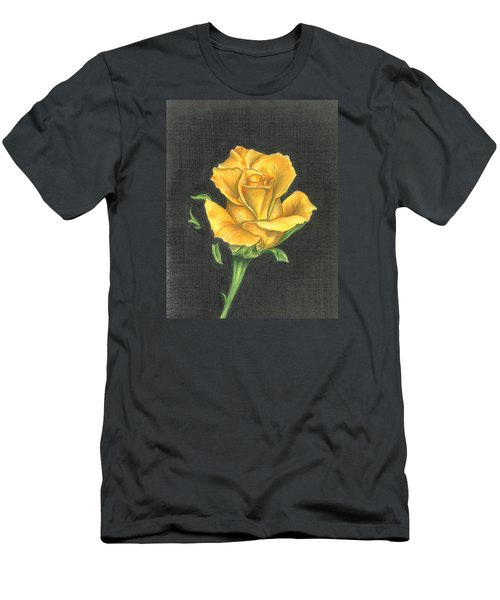 Men's T-Shirt (Slim Fit) featuring the drawing Yellow Rose by Troy Levesque