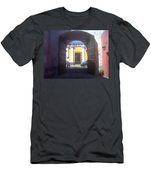 Men's T-Shirt (Slim Fit) featuring the photograph Yellow Stucco by Lew Davis