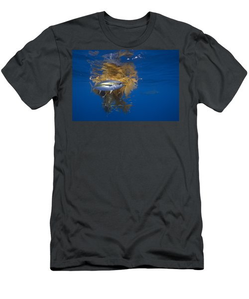 Men's T-Shirt (Athletic Fit) featuring the photograph Yellowfin Tuna And Kelp Nine-mile Bank by Richard Herrmann