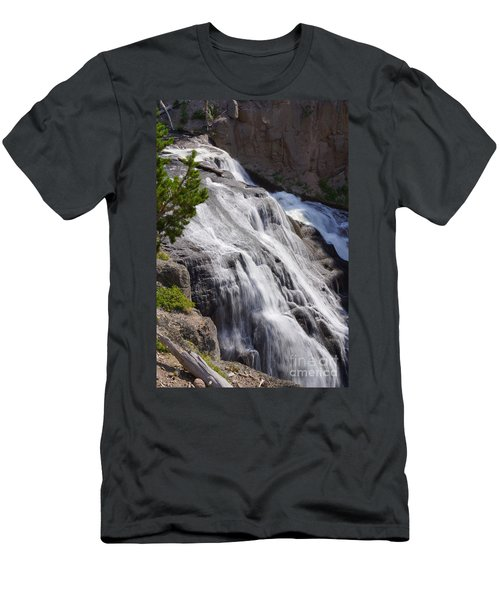 Yellowstone Gibbon Falls Men's T-Shirt (Slim Fit) by Jennifer White