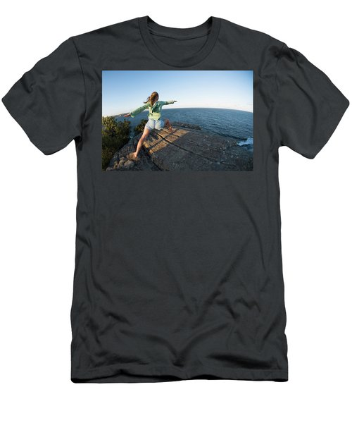 Yoga On Rocky Outcrop Above Ocean Men's T-Shirt (Athletic Fit)