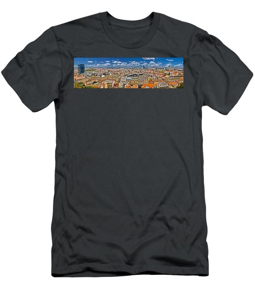 Zagreb Lower Town Colorful Panoramic View Men's T-Shirt (Athletic Fit)