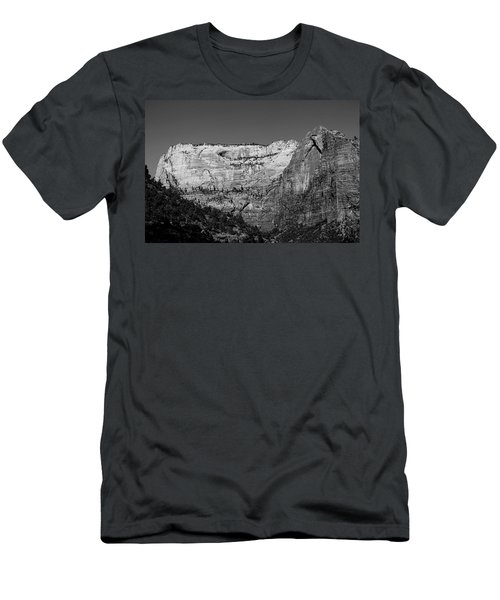 Zion Cliff And Arch B W Men's T-Shirt (Athletic Fit)