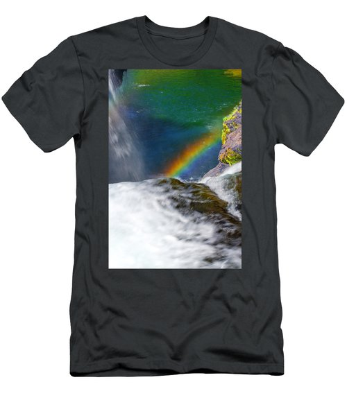 Rainbow By The Waterfall Men's T-Shirt (Athletic Fit)