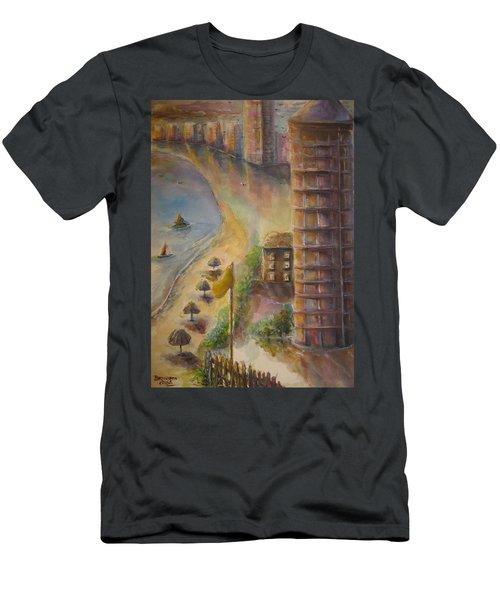 Sunset Beach Men's T-Shirt (Slim Fit) by Bernadette Krupa