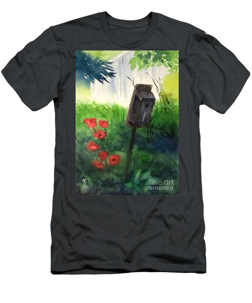 Men's T-Shirt (Slim Fit) featuring the painting A Bird House In The Geddes Farm --ann Arbor Michigan by Yoshiko Mishina
