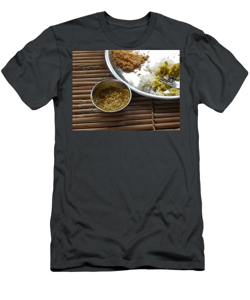 A Typical Plate Of Indian Rajasthani Food On A Bamboo Table Men's T-Shirt (Slim Fit) by Ashish Agarwal