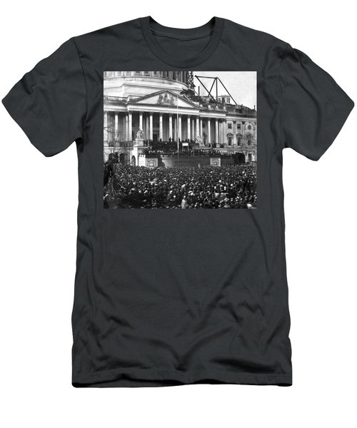Men's T-Shirt (Slim Fit) featuring the photograph Abraham Lincolns First Inauguration - March 4 1861 by International  Images