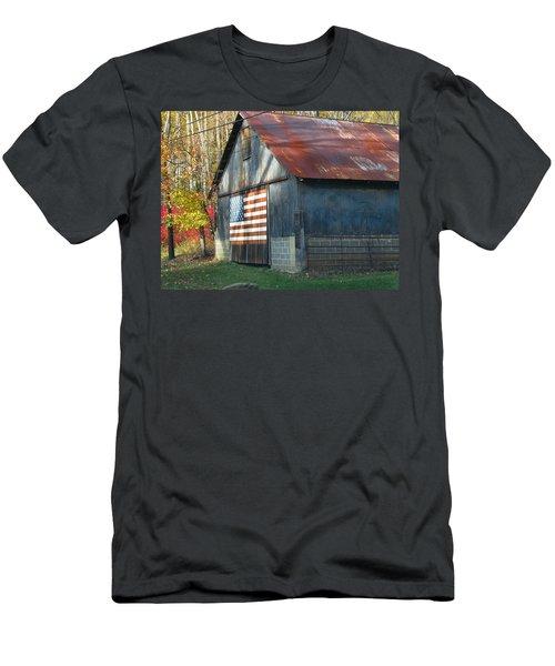 Men's T-Shirt (Slim Fit) featuring the photograph Americana Barn by Clara Sue Beym