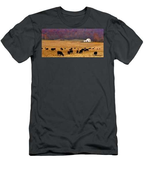 Men's T-Shirt (Slim Fit) featuring the photograph Angus And Oaks  Farm by Randall Branham