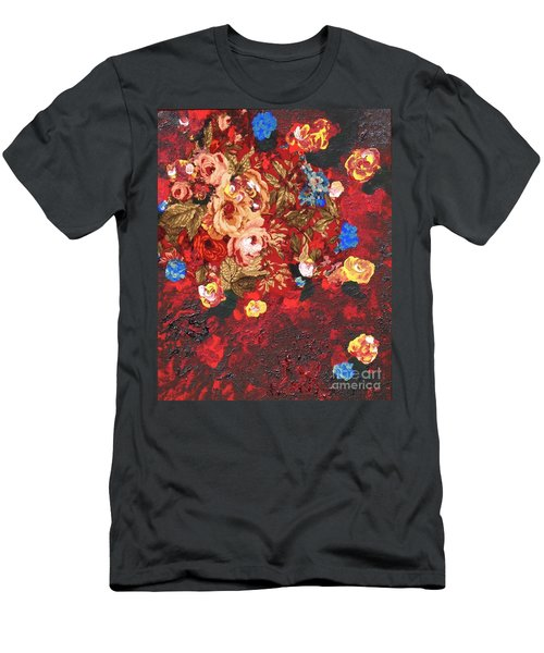 Men's T-Shirt (Slim Fit) featuring the painting Baba's Garden Lg by Alys Caviness-Gober