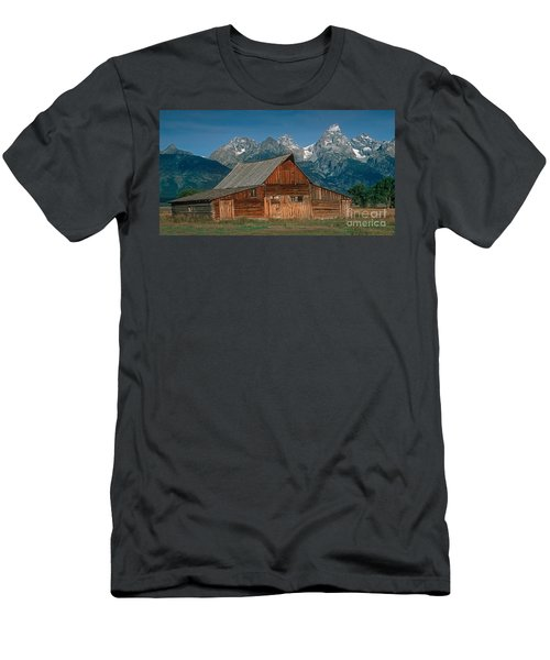 Men's T-Shirt (Slim Fit) featuring the photograph Barn And Tetons by Jerry Fornarotto