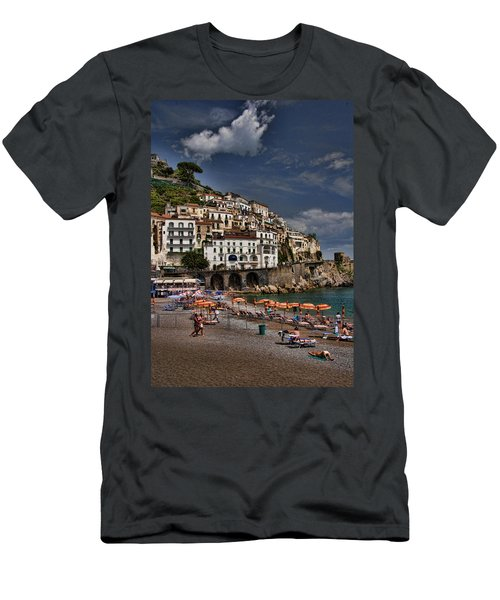 Beach Scene In Amalfi On The Amalfi Coast In Italy Men's T-Shirt (Athletic Fit)