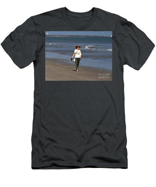 Men's T-Shirt (Slim Fit) featuring the photograph Beach Walker by John Black