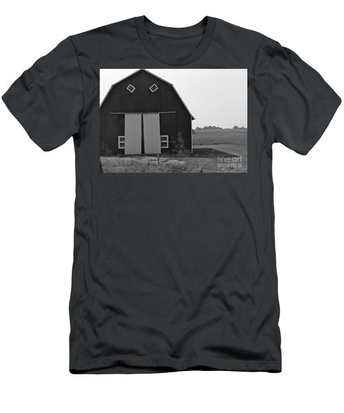 Big Tooth Barn Black And White Men's T-Shirt (Athletic Fit)