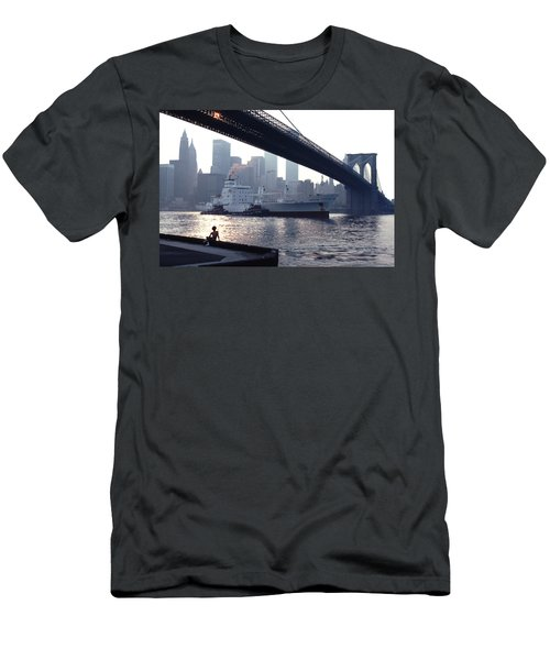 Boy Freighter Brooklyn Bridge Sunset Men's T-Shirt (Athletic Fit)
