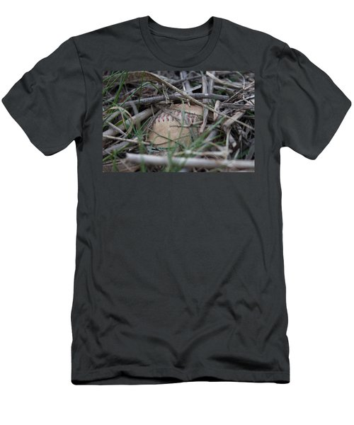 Men's T-Shirt (Slim Fit) featuring the photograph Buried Baseball by Stephanie Nuttall