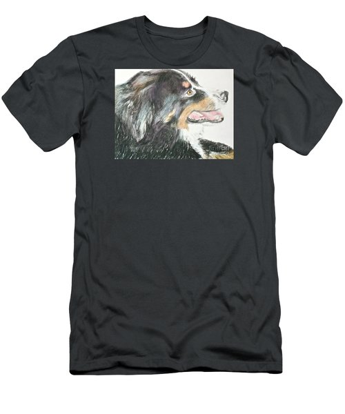 Men's T-Shirt (Slim Fit) featuring the drawing Buttercup The Wonderdog by Beth Saffer