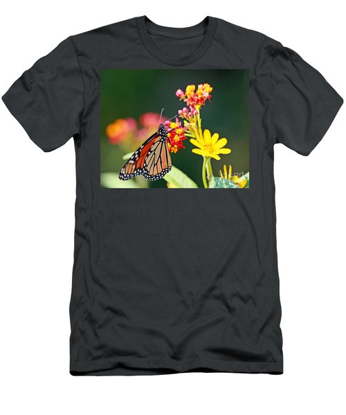 Men's T-Shirt (Slim Fit) featuring the photograph Butterfly Monarch On Lantana Flower by Luana K Perez
