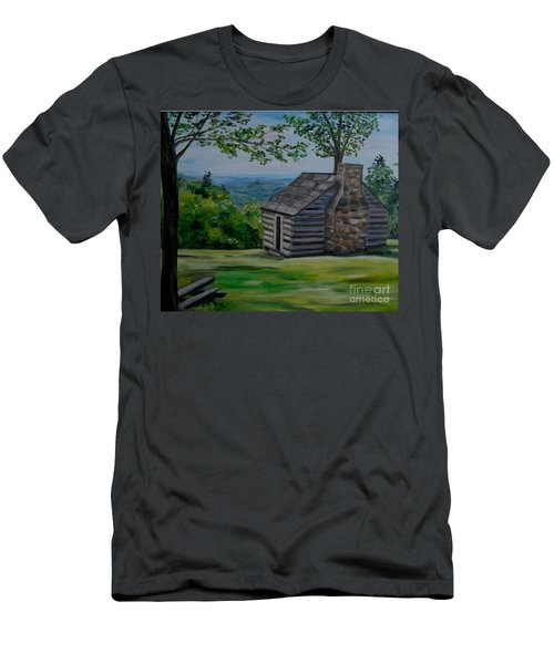 Men's T-Shirt (Slim Fit) featuring the painting Cabin On The Blue Ridge Parkway In Va by Julie Brugh Riffey
