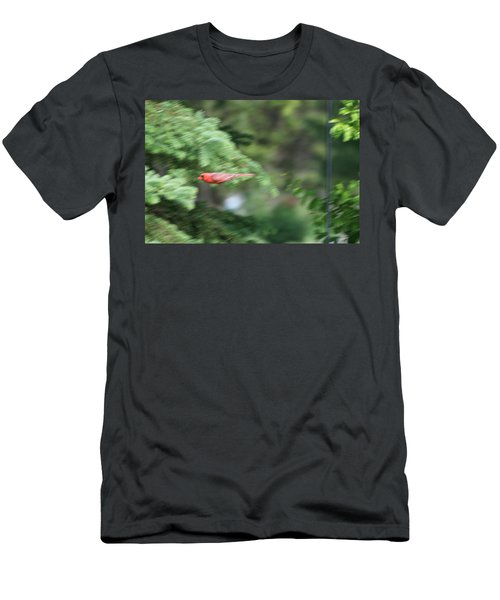 Men's T-Shirt (Slim Fit) featuring the photograph Cardinal In Flight by Thomas Woolworth