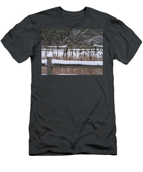 Men's T-Shirt (Slim Fit) featuring the photograph Cattails In The Pond by Rand Swift