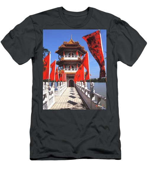 Men's T-Shirt (Slim Fit) featuring the photograph Chinese Gardens  North Pagoda 19c by Gerry Gantt